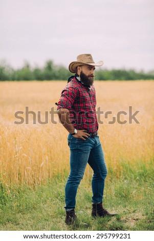 Bearded man. Cowboy - stock photo