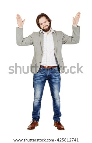 bearded man posing with hands up on white background. human emotion expression and lifestyle concept. image on a white studio background. - stock photo