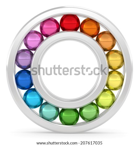 Bearing with colorful balls on white background. High resolution 3D image rendered with soft shadows - stock photo