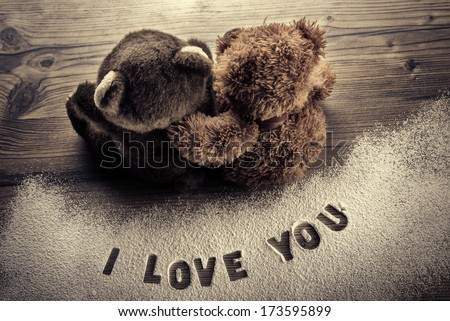 Bears in love embrace - Valentines Day  - stock photo