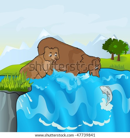 Bears in the stream attempt to catch a fish. Young bear learning about fishing. - stock photo