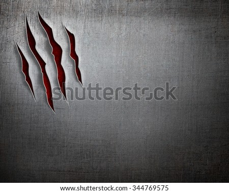 beast claw cuts on metal background - stock photo