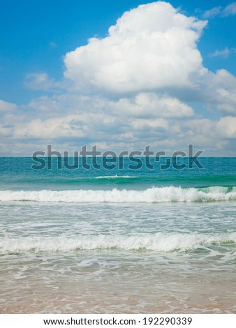 Beat of waves on a beach in Mediterranean sea - stock photo