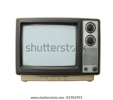 Beat up grungy old TV set isolated on white. - stock photo