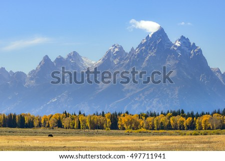 Beathtaking view of Teton Range in Grand Teton National Park, Landscape.
