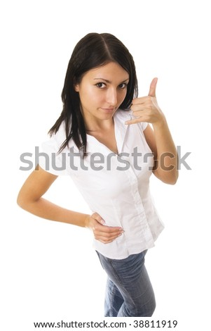 Beatiful Caucasian woman using her fingers to display the call me gesture - stock photo