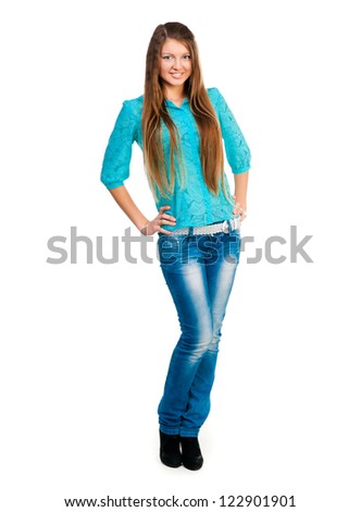 beatiful girl student white background - stock photo