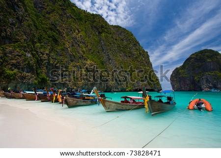 Beatiful Maya bay, Phi Phi island, Thailand - stock photo