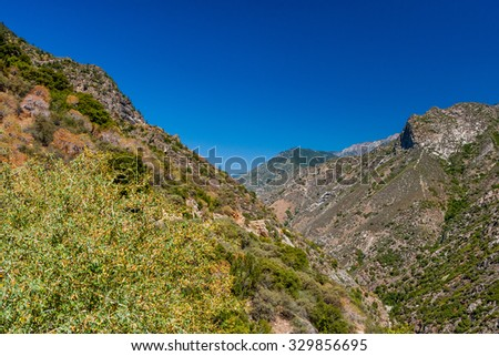Beatiful scenic view at Highway 180, Kings Canyon National Park, Southern Sierra Nevada, California, USA. - stock photo