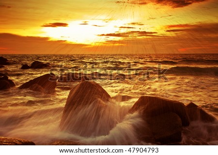 Beatiful sunset in the tropical sea