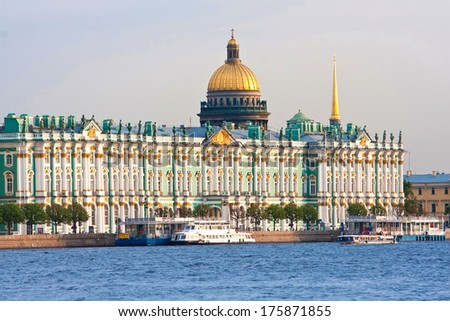 Beatiful view Neva river in Saint Petersburg, Russia - stock photo