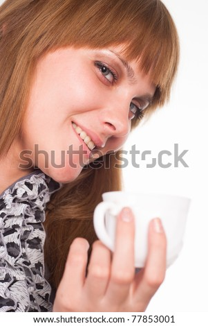 beatutiful girl with a cup on a white