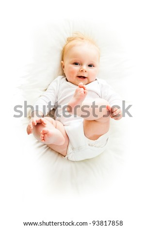 Beaufiful caucasian infant baby girl isolated on white - stock photo