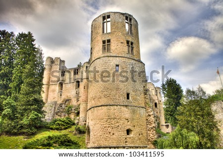 Beaufort castle ruins, Luxembourg, HDR  - stock photo