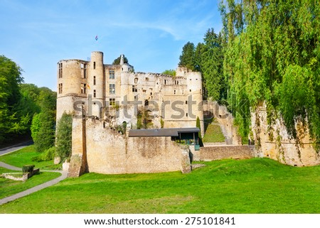 Beaufort castle ruins on spring day - stock photo