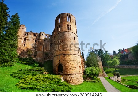 Beaufort castle ruins on spring day in Luxembourg - stock photo