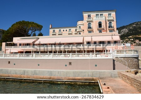 BEAULIEU, FRANCE-APRIL 08: Hotel La Reserve shown on april 08,2015 in Beaulieu, French Riviera. This 5-stars luxury hotel, very renowned, of 39 rooms and suites is in an exceptional  surroundings.   - stock photo