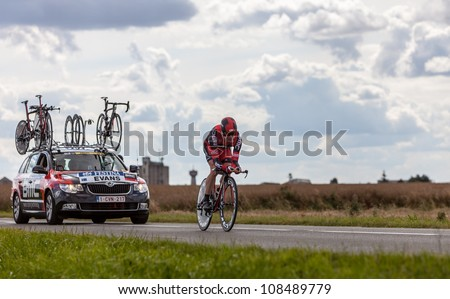 BEAUROUVRE,FRANCE,JUL 21:The Australian cyclist Evans Cadel from BMC Racing Team pedaling during the 19th stage of Le Tour de France 2012- a time trial  between Bonneval and Chartres  on July 21 2012.