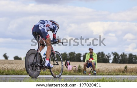 BEAUROUVRE,FRANCE,JUL 21:The Belgian cyclist Jelle Vanendert from Team  Lotto-Belisol pedaling during the 19 stage- a time trial between Bonneval and Chartres on July 21 2012.