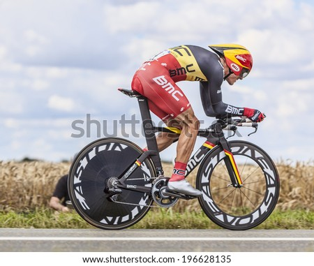 BEAUROUVRE,FRANCE,JUL 21:The Belgian cyclist Philippe Gilbert from BMC Team pedaling during the 19 stage- a time trial between Bonneval and Chartres on July 21 2012. - stock photo