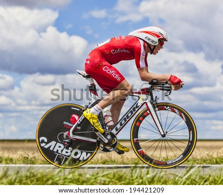 BEAUROUVRE,FRANCE,JUL 21:The Belgian cyclist Romain Zingle from Team Cofidis pedaling during the 19 stage- a time trial between Bonneval and Chartres on July 21 2012. - stock photo
