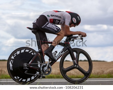 BEAUROUVRE,FRANCE,JUL 21:The cyclist Van Garderen Tejay (BMC Racing ) wearing The White Jersey during the 19 stage- a time trial  between Bonneval and Chartres- of Le Tour de France on July 21 2012. - stock photo