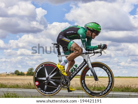BEAUROUVRE,FRANCE,JUL 21:The French cyclist Christophe Kern from Team Europcar pedaling during the 19 stage- a time trial between Bonneval and Chartres on July 21 2012.