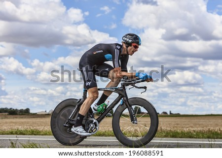 BEAUROUVRE,FRANCE,JUL 21:The German cyclist Christian Knees from Team Sky pedaling during the 19 stage- a time trial between Bonneval and Chartres on July 21 2012. - stock photo