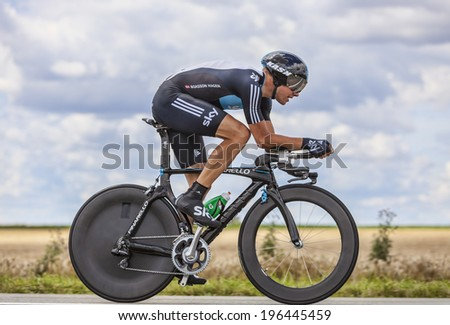 BEAUROUVRE,FRANCE,JUL 21:The Norwegian cyclist Boasson Hagen from Team Sky pedaling during the 19 stage- a time trial between Bonneval and Chartres on July 21 2012. - stock photo