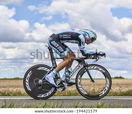 BEAUROUVRE,FRANCE,JUL 21:The Slovak cyclist Peter Velits from Omega Pharma-Quick Step Team pedaling during the 19 stage- a time trial between Bonneval and Chartres on July 21 2012. - stock photo