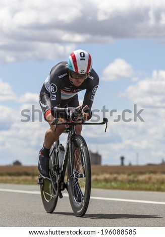 BEAUROUVRE,FRANCE,JUL 21:The Ukrainian cyclist Yaroslav Popovych from Team RadioShack-Nissan pedaling during the 19 stage- a time trial between Bonneval and Chartres on July 21 2012. - stock photo