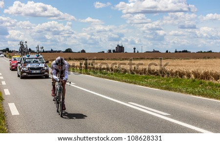 BEAUROUVRE, FRANCE -JULY 21:The French cyclist Riblon Christophe from Ag2r-La Mondiale Team pedaling during the 19 stage of Le Tour de France- a time trial  between Bonneval and Chartres, France on July 21, 2012