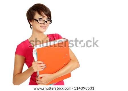 Beauteous businesswoman in a coral dress on a white background