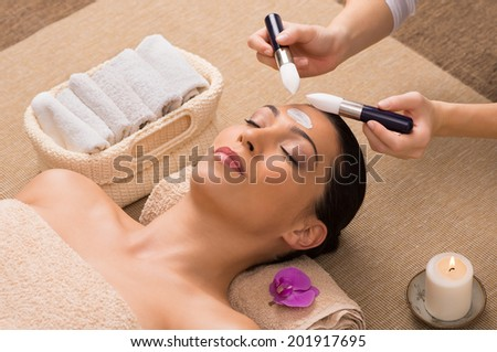 Beautician Apply Mask On Face With Brush - stock photo