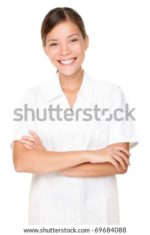 Beautician. Beauty spa massage therapist woman portrait isolated on white background. Mixed race Asian Caucasian model. - stock photo