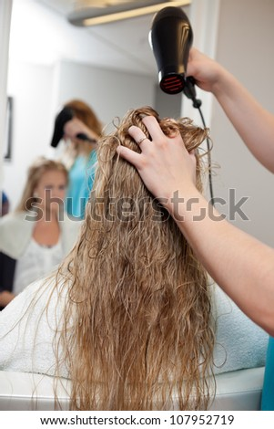 Beautician blow drying woman's hair at parlor - stock photo