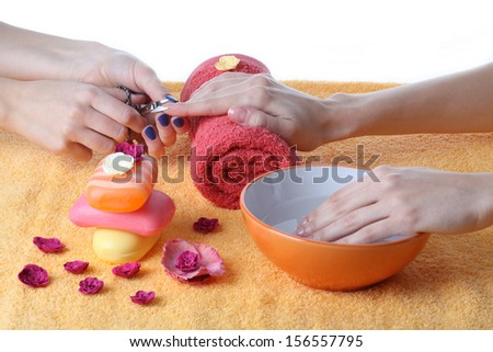 Beautician doing manicure of woman's hands - stock photo