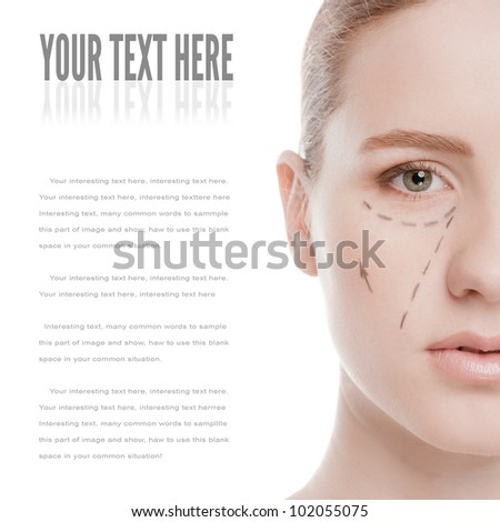Beautician draw correction lines on woman face. Before plastic surgery operetion. Isolated on white - stock photo