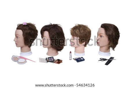 Beautician model heads for practicing beauty techniques in beauty school - path included - stock photo