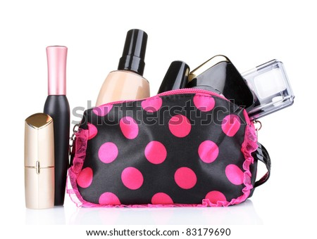 beautician with makeup isolated on white - stock photo