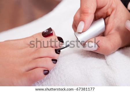 Beautician working on toenails. Spa studio shot - stock photo