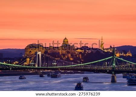 Beautifil night view of Budapest-Hungary. - stock photo