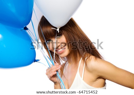 beautifu woman holding ballons