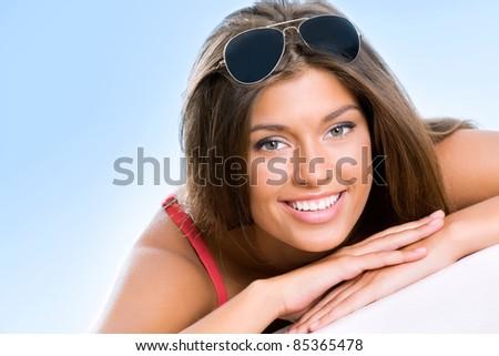 Beautifu woman on the beach - stock photo