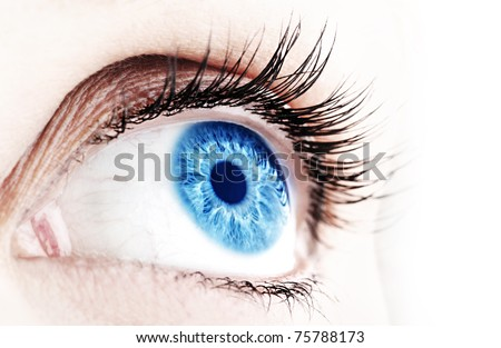 Beautiful abstract blue eye, extreme closeup - stock photo