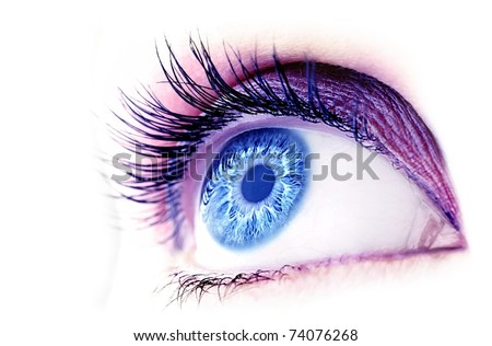 Beautiful abstract blue eye, extreme closeup, with fashionable makeup - stock photo