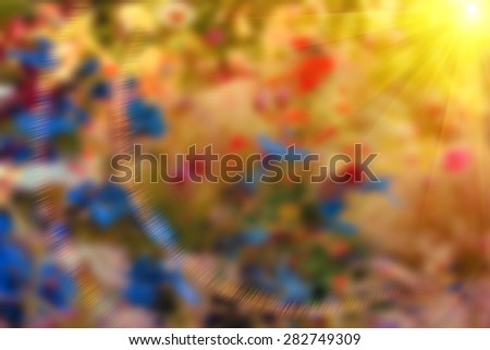beautiful abstract blurred colorful background with sun and reflections - stock photo