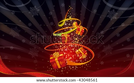 beautiful abstract christmas tree on a nice background