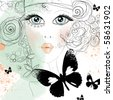 Beautiful abstract design with face of girl in scribblestyle with butterfly - stock vector
