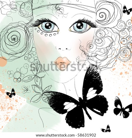 Beautiful abstract design with face of girl in scribblestyle with butterfly - stock photo